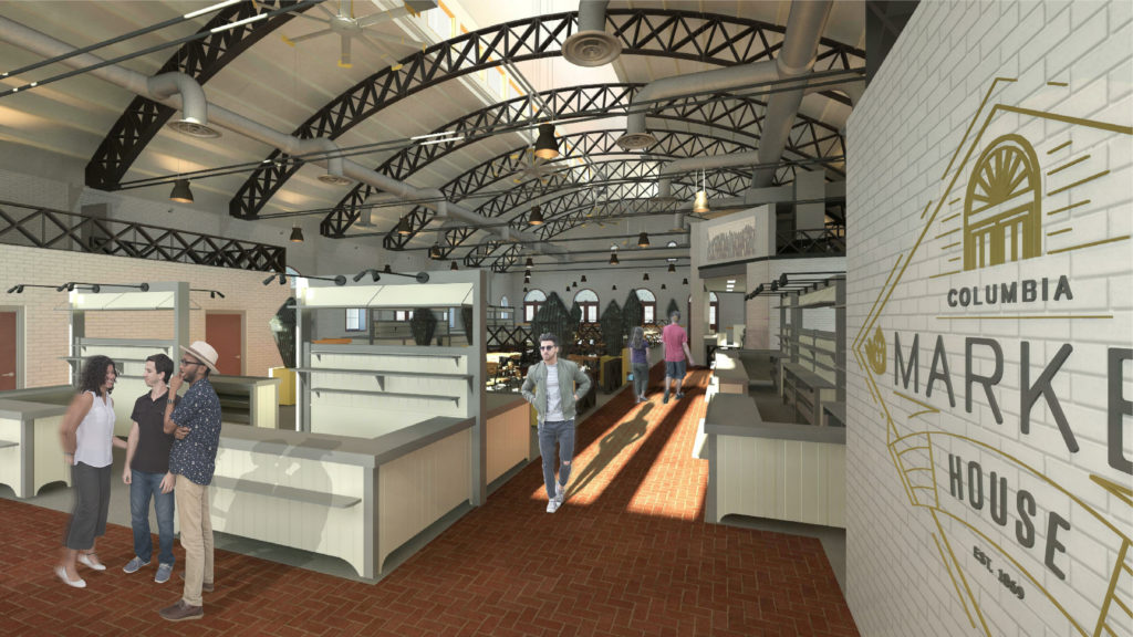 Rendering of the upcoming renovations to the historic market building.